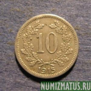 Монета 10 хеллер 1915 1916 австрия